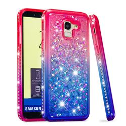 Diamond Frame Liquid Glitter Quicksand Sequins Phone Case for Samsung Galaxy J6 (2018) SM-J600F - Pink Blue