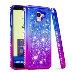 Diamond Frame Liquid Glitter Quicksand Sequins Phone Case for Samsung Galaxy J6 (2018) SM-J600F - Blue Purple