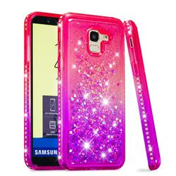 Diamond Frame Liquid Glitter Quicksand Sequins Phone Case for Samsung Galaxy J6 (2018) SM-J600F - Pink Purple