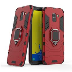 Black Panther Armor Metal Ring Grip Shockproof Dual Layer Rugged Hard Cover for Samsung Galaxy J6 (2018) SM-J600F - Red