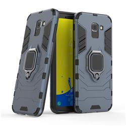Black Panther Armor Metal Ring Grip Shockproof Dual Layer Rugged Hard Cover for Samsung Galaxy J6 (2018) SM-J600F - Blue