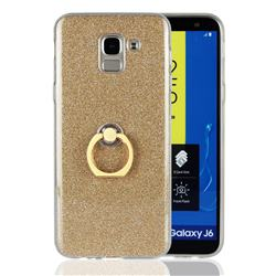Luxury Soft TPU Glitter Back Ring Cover with 360 Rotate Finger Holder Buckle for Samsung Galaxy J6 (2018) SM-J600F - Golden
