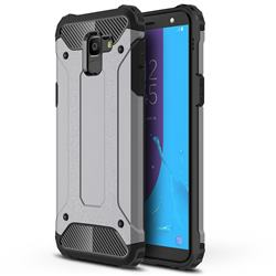 King Kong Armor Premium Shockproof Dual Layer Rugged Hard Cover for Samsung Galaxy J6 (2018) SM-J600F - Silver Grey