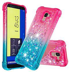 Rainbow Gradient Liquid Glitter Quicksand Sequins Phone Case for Samsung Galaxy J6 (2018) SM-J600F - Pink Blue