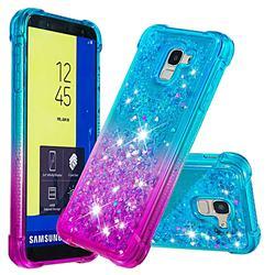 Rainbow Gradient Liquid Glitter Quicksand Sequins Phone Case for Samsung Galaxy J6 (2018) SM-J600F - Blue Purple