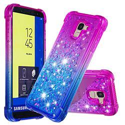 Rainbow Gradient Liquid Glitter Quicksand Sequins Phone Case for Samsung Galaxy J6 (2018) SM-J600F - Purple Blue