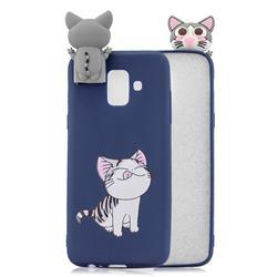 Grinning Cat Soft 3D Climbing Doll Stand Soft Case for Samsung Galaxy J6 (2018) SM-J600F