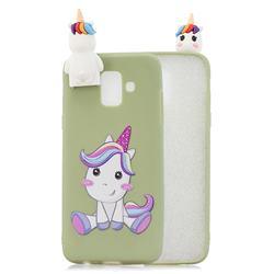 Cute Unicorn Soft 3D Climbing Doll Stand Soft Case for Samsung Galaxy J6 (2018) SM-J600F