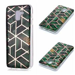Green Rhombus Galvanized Rose Gold Marble Phone Back Cover for Samsung Galaxy J6 (2018) SM-J600F