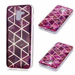 Purple Rhombus Galvanized Rose Gold Marble Phone Back Cover for Samsung Galaxy J6 (2018) SM-J600F