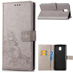 Embossing Imprint Four-Leaf Clover Leather Wallet Case for Samsung Galaxy J6 (2018) SM-J600F - Grey