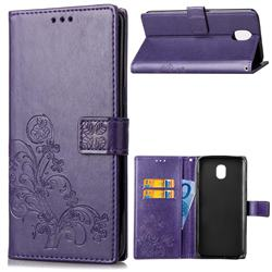 Embossing Imprint Four-Leaf Clover Leather Wallet Case for Samsung Galaxy J6 (2018) SM-J600F - Purple
