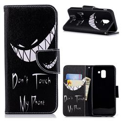Crooked Grin Leather Wallet Case for Samsung Galaxy J6 (2018) SM-J600F