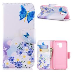 Butterflies Flowers Leather Wallet Case for Samsung Galaxy J6 (2018) SM-J600F