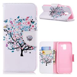 Colorful Tree Leather Wallet Case for Samsung Galaxy J6 (2018) SM-J600F