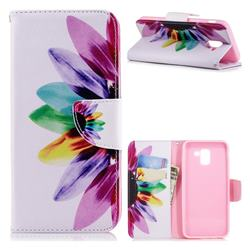 Seven-color Flowers Leather Wallet Case for Samsung Galaxy J6 (2018) SM-J600F
