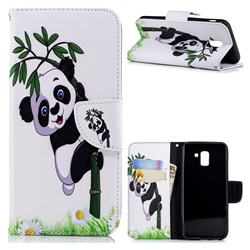 Bamboo Panda Leather Wallet Case for Samsung Galaxy J6 (2018) SM-J600F