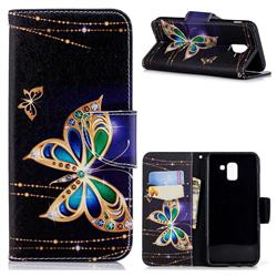 Golden Shining Butterfly Leather Wallet Case for Samsung Galaxy J6 (2018) SM-J600F