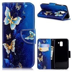 Golden Butterflies Leather Wallet Case for Samsung Galaxy J6 (2018) SM-J600F