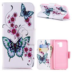 Peach Butterflies Leather Wallet Case for Samsung Galaxy J6 (2018) SM-J600F