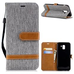 Jeans Cowboy Denim Leather Wallet Case for Samsung Galaxy J6 (2018) SM-J600F - Gray