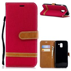 Jeans Cowboy Denim Leather Wallet Case for Samsung Galaxy J6 (2018) SM-J600F - Red