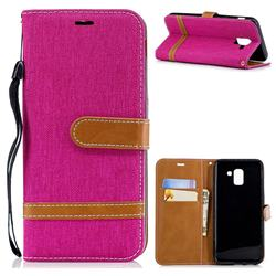 Jeans Cowboy Denim Leather Wallet Case for Samsung Galaxy J6 (2018) SM-J600F - Rose