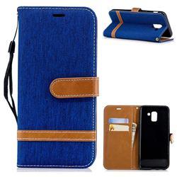 Jeans Cowboy Denim Leather Wallet Case for Samsung Galaxy J6 (2018) SM-J600F - Sapphire