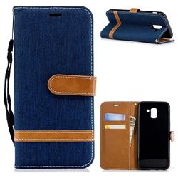 Jeans Cowboy Denim Leather Wallet Case for Samsung Galaxy J6 (2018) SM-J600F - Dark Blue