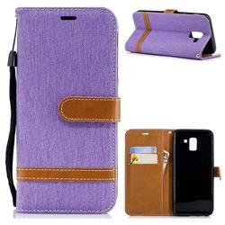 Jeans Cowboy Denim Leather Wallet Case for Samsung Galaxy J6 (2018) SM-J600F - Purple