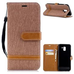 Jeans Cowboy Denim Leather Wallet Case for Samsung Galaxy J6 (2018) SM-J600F - Brown