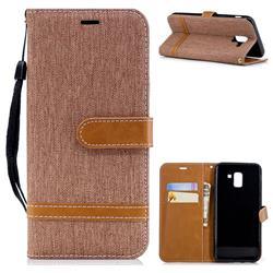Jeans Cowboy Denim Leather Wallet Case for Samsung Galaxy J6 (2018) SM-J600F - Brown