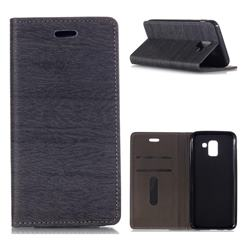 Tree Bark Pattern Automatic suction Leather Wallet Case for Samsung Galaxy J6 (2018) SM-J600F - Gray