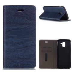 Tree Bark Pattern Automatic suction Leather Wallet Case for Samsung Galaxy J6 (2018) SM-J600F - Blue