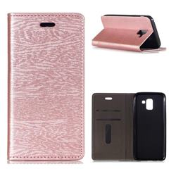 Tree Bark Pattern Automatic suction Leather Wallet Case for Samsung Galaxy J6 (2018) SM-J600F - Rose Gold