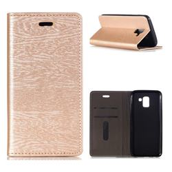 Tree Bark Pattern Automatic suction Leather Wallet Case for Samsung Galaxy J6 (2018) SM-J600F - Champagne Gold