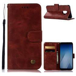 Luxury Retro Leather Wallet Case for Samsung Galaxy J6 (2018) SM-J600F - Wine Red