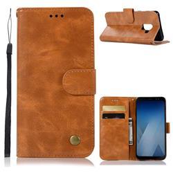 Luxury Retro Leather Wallet Case for Samsung Galaxy J6 (2018) SM-J600F - Golden