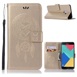 Intricate Embossing Owl Campanula Leather Wallet Case for Samsung Galaxy J6 (2018) SM-J600F - Champagne