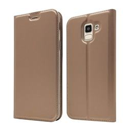 Ultra Slim Card Magnetic Automatic Suction Leather Wallet Case for Samsung Galaxy J6 (2018) SM-J600F - Rose Gold