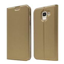 Ultra Slim Card Magnetic Automatic Suction Leather Wallet Case for Samsung Galaxy J6 (2018) SM-J600F - Champagne