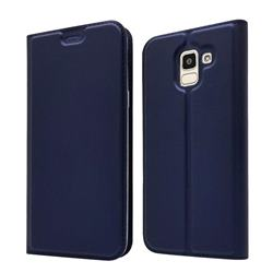Ultra Slim Card Magnetic Automatic Suction Leather Wallet Case for Samsung Galaxy J6 (2018) SM-J600F - Royal Blue