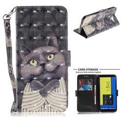 Cat Embrace 3D Painted Leather Wallet Phone Case for Samsung Galaxy J6 (2018) SM-J600F