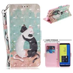 Black and White Cat 3D Painted Leather Wallet Phone Case for Samsung Galaxy J6 (2018) SM-J600F