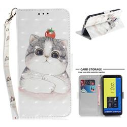 Cute Tomato Cat 3D Painted Leather Wallet Phone Case for Samsung Galaxy J6 (2018) SM-J600F
