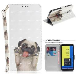 Pug Dog 3D Painted Leather Wallet Phone Case for Samsung Galaxy J6 (2018) SM-J600F