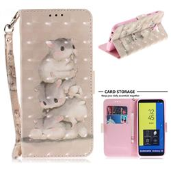 Three Squirrels 3D Painted Leather Wallet Phone Case for Samsung Galaxy J6 (2018) SM-J600F