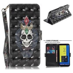 Skull Cat 3D Painted Leather Wallet Phone Case for Samsung Galaxy J6 (2018) SM-J600F
