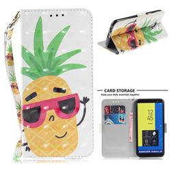 Pineapple Glasses 3D Painted Leather Wallet Phone Case for Samsung Galaxy J6 (2018) SM-J600F