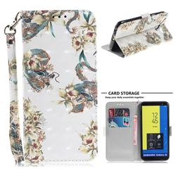 Dragon Flower 3D Painted Leather Wallet Phone Case for Samsung Galaxy J6 (2018) SM-J600F